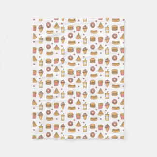 O fast food de Kawaii Doodles a cobertura do velo Cobertor De Lã