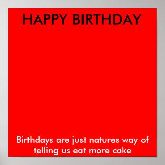 O FELIZ ANIVERSARIO, aniversários é apenas maneira Pôster