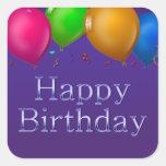 O feliz aniversario Balloons a etiqueta Adesivo Em Forma Quadrada