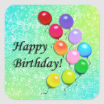 O feliz aniversario Balloons etiquetas do partido Adesivos Quadrados