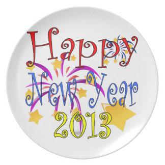 O feliz ano novo 2013 louças de jantar
