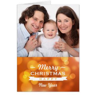 O feliz ano novo chique do Feliz Natal do bokeh do Cartões