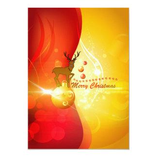 O Feliz Natal, rena bonito está em um christm Convite 12.7 X 17.78cm