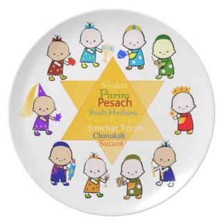 O feriado judaico caçoa a placa da celebração pratos de festas