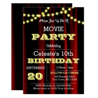 O filme ilumina o convite amarelo do aniversário