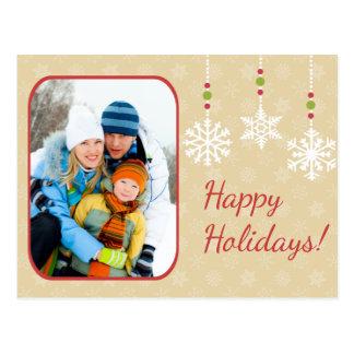 O floco de neve Ornaments o cartão do feriado da f Cartao Postal