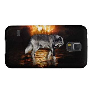 O fogo do lobo cinzento arde o exemplo de Samsung Capinha Galaxy S5