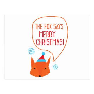 O Fox diz o Feliz Natal! Cartão Postal