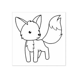 O Fox pequeno curioso colore-me Carimbo De Borracha