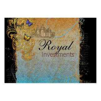 O francês real do castelo enrola cartões de cartão de visita grande