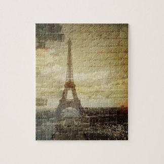 O francês scripts a torre Eiffel moderna de Paris Quebra-cabeça
