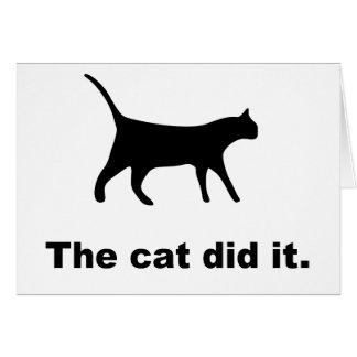 O gato fê-lo cartão engraçado