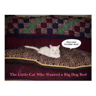 O gato pequeno que quis uma cama grande do cão cartão postal