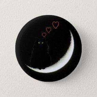 O gato preto ama-o à lua e à parte traseira bóton redondo 5.08cm