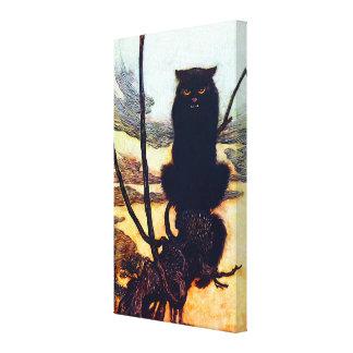 O gato preto impressão de canvas esticadas