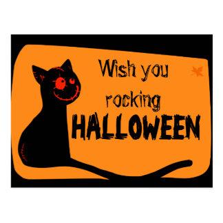 O gato preto com vermelho eyes o cartão do Dia das Cartão Postal