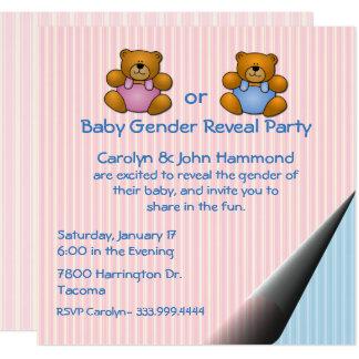 O género do bebê dos ursos de ursinho revela o convite quadrado 13.35 x 13.35cm