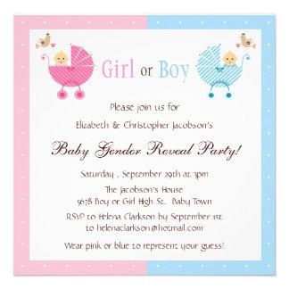 O género revela bebês do partido nos carrinhos de  convite personalizado