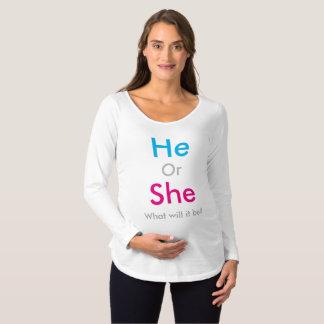 O género revela camiseta para gestantes