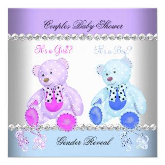 O género revela ursos de ursinho azuis roxos do convite quadrado 13.35 x 13.35cm