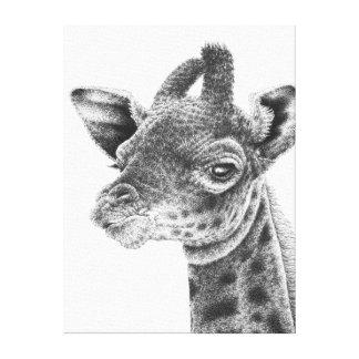 O girafa do bebê esticou o impressão das canvas