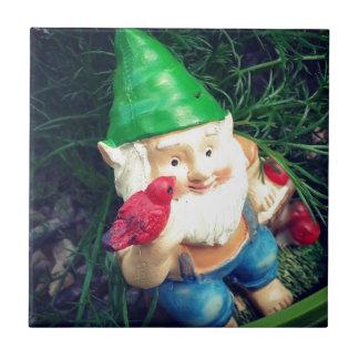 O gnomo do jardim em minha camomila #inmygarden azulejo de cerâmica