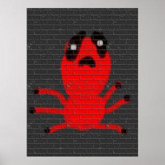 O grafite da pintura de parede de Brown da aranha Pôster