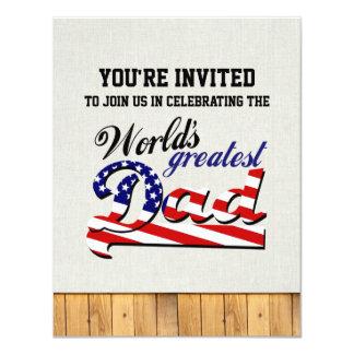 O grande pai do mundo com bandeira americana convite 10.79 x 13.97cm