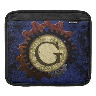O Grunge Steampunk alinha a letra G do monograma Bolsas De iPad