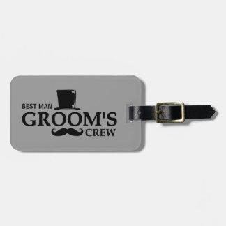 O grupo do noivo do bigode etiqueta para bagagem
