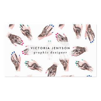 O henna moderno da aguarela tattooed entrega o cartão de visita