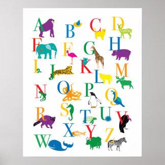 O impressão animal do alfabeto