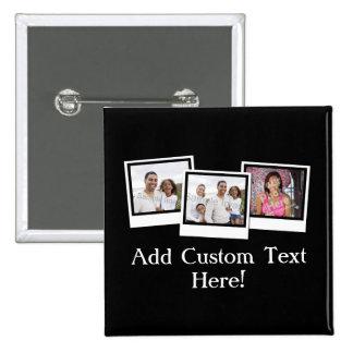 O instantâneo 3-Photo personalizado molda a cor Bóton Quadrado 5.08cm