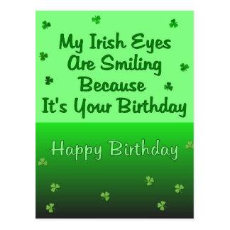 O irlandês Eyes o aniversário Cartão Postal