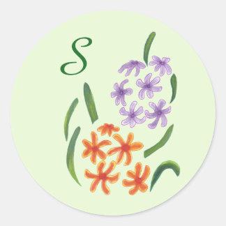 O jacinto alaranjado roxo floresce etiquetas do adesivo