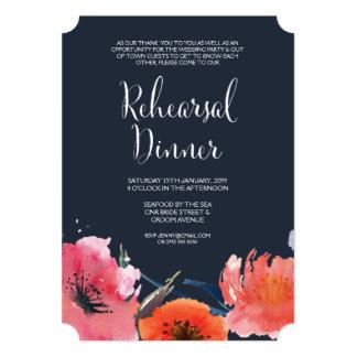 O jantar de ensaio floral da aguarela do marinho convites personalizado