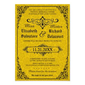 O jantar de ensaio gótico do casamento do convite 12.7 x 17.78cm