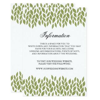 O jardim verde sae do cartão de informação do convite 11.30 x 15.87cm