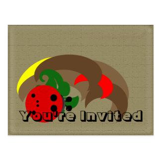O joaninha convida cartão postal
