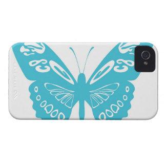 O laço da borboleta do azul de turquesa voa o caso capinhas iPhone 4