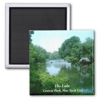 O lago no Central Park Ímã Quadrado