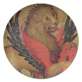 O leão de St Mark (óleo no painel) Louça De Jantar