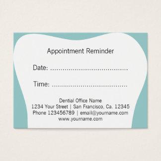O lembrete da nomeação do dentista carda o cartão de visita grande