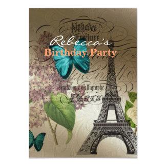 o lilac scripts a torre Eiffel moderna de Paris do Convite 11.30 X 15.87cm