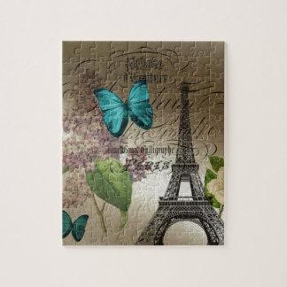 o lilac scripts a torre Eiffel moderna de Paris do Quebra-cabeça