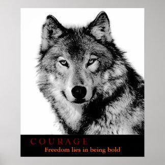 O lobo branco preto das citações da coragem Eyes o Impressão