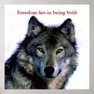 O lobo inspirador da coragem Eyes o poster