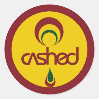 O logotipo descontado adesivo
