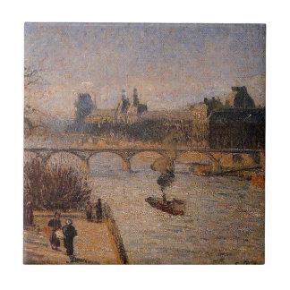 O Louvre 2 por Camille Pissarro Azulejo Quadrado Pequeno