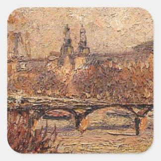 O Louvre, manhã por Camille Pissarro Adesivo Quadrado
